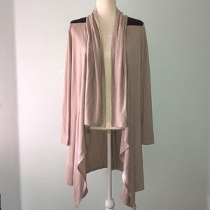 Scarf Cardigan with Leather Like Detail 10